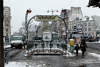 Paris Métro entrances by Hector Guimard - Winter view of the Guimard entrance to the Père Lachaise Métro station, in the 11th arrondissement