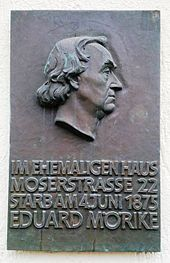 Gedenktafel am Sterbehaus in Stuttgart (Quelle: Wikimedia)