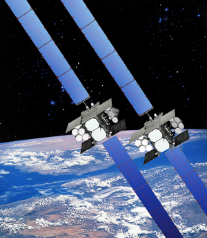 Wideband Global SATCOM - Illustration of the Wideband Global SATCOM (WGS) satellites in its two configurations, known as Block I and Block II
