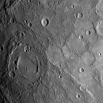 A MESSENGER image from 18,000 km showing a region about 500 km across