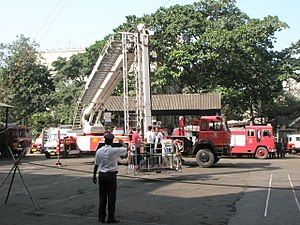 Mumbai Fire Brigade - Image: MFB on Work MFB Ladder