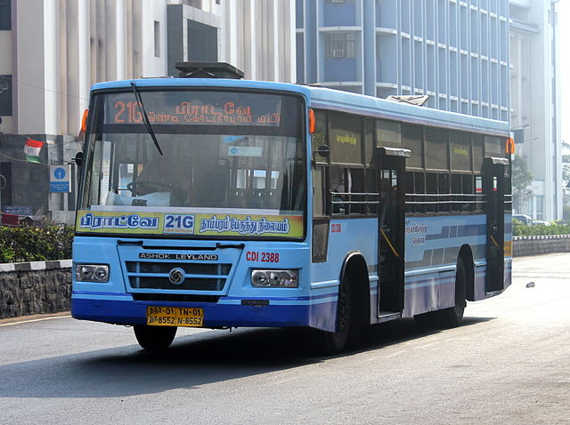 A blue coloured MTC Semi Low Floor bus on route number 21G.