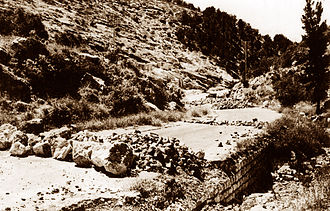 1947–1949 Palestine war - An Arab road block, at the main road to Jerusalem.