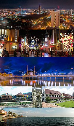 From top, left to right: Karebosi Skyline, Trans Studio Makassar. Floating Mosque Makassar, Traditional Bugis houses along Makassar-Watampone road, Statue of family fishermen, Historic Fort Rotterdam, Losari Beach