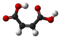 Ball-and-stick model of the maleic acid molecule