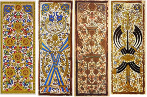 Playing card - Four Mamluk playing cards.