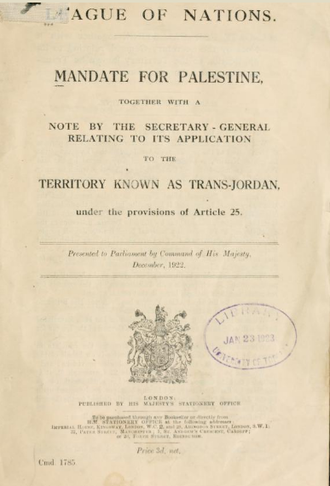 British Mandate for Palestine (legal instrument) - British Command Paper 1785, December 1922, containing the Mandate for Palestine and the Transjordan memorandum
