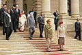 Manmohan Singh and his wife Smt. Gursharan Kaur are being escorted by the President of South Africa, Mr. Thabo Mbeki in procession for a ceremonial reception at the Union Buildings in Pretoria on October 02, 2006.jpg