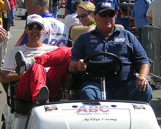A. J. Foyt - A. J. Foyt (right) and former driver Darren Manning (left) at the 2007 Indianapolis 500.