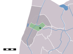 The town centre (darkgreen) and the statistical district (lightgreen) of Schagerbrug in the former municipality of Zijpe.