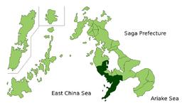 Nagasaki bys situation i Nagasaki præfektur