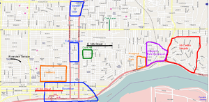 Neighborhoods of Davenport, Iowa - Map highlighting the historic neighborhoods