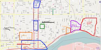 Neighborhoods of Davenport, Iowa - Map highlighting the historic neighborhoods