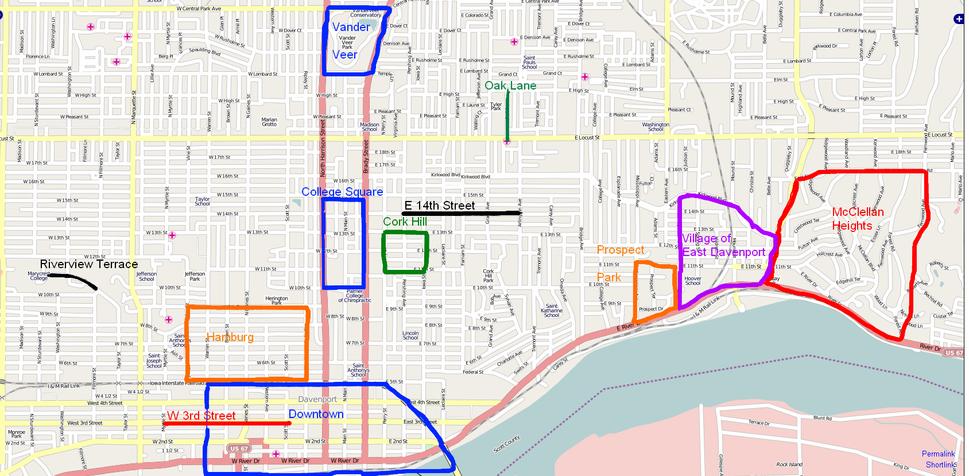 Map of Davenport, Iowa Neighborhoods