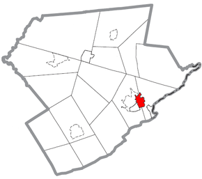 Map of East Stroudsburg, Monroe County, Pennsylvania Highlighted.png