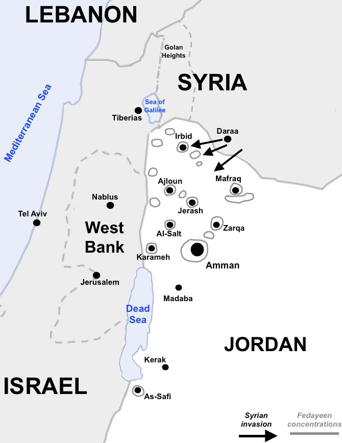 Map of Fedayeen concentrations in Jordan in 1970