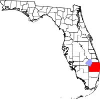Map of Florida highlighting Palm Beach County