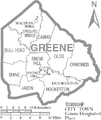 Map of Greene County North Carolina With Municipal and Township Labels.PNG