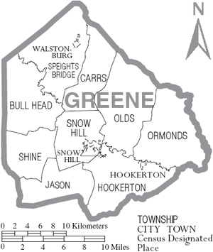 Greene County, North Carolina - Map of Greene County, North Carolina With Municipal and Township Labels