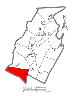 Map of Blair County, Pennsylvania highlighting Greenfield Township