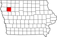 Map of Iowa highlighting Cherokee County