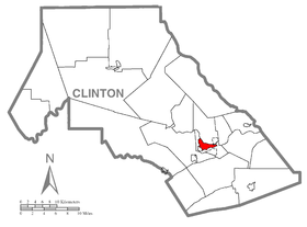 Map of Lock Haven, Clinton County, Pennsylvania Highlighted.png