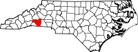 Map of North Carolina highlighting Rutherford County