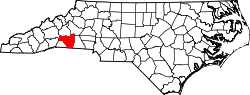 Map of North Carolina highlighting Rutherford County.svg