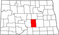 Map of North Dakota highlighting Kidder County