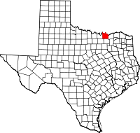 Map of Texas highlighting Grayson County