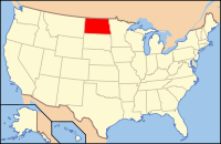 Map of the U.S. highlighting North Dakota