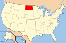 Map of the U.S. with Північна Дакота highlighted