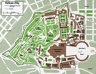 Outline of Vatican City - An enlargeable map of Vatican City State, including extraterritorial properties of the Holy See bordering Vatican City