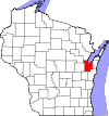Map of Wisconsin highlighting Brown County.svg
