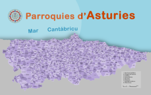 Parroquia (Spain) - Map with all the Parishes in Asturias.