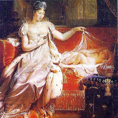 Marie Louise med deras gemensamma barn Napoleon II