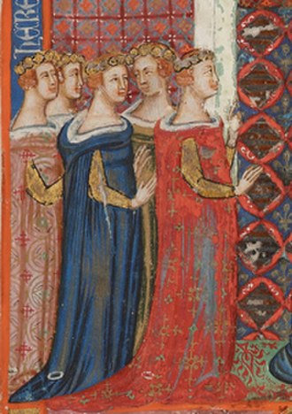 Margaret, Countess of Anjou - Margaret with her sisters in the Bible of Naples