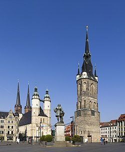 Market Place with the Red Tower and the Marktkirche Unser Lieben Frauen