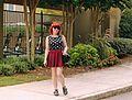 Maroon Skater Skirt, Flat Cutout Boohoo Ankle Boots, and a Sleeveless Polka Dot Shirt (21626600794).jpg
