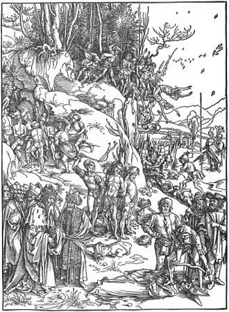 Martyrdom of the Ten Thousand - The similar  1496 woodcut.