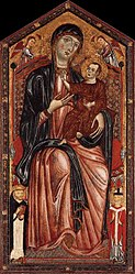 Master of the Magdalen: The Virgin and Child enthroned with Saints Dominic and Martin, and two Angels
