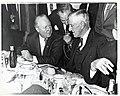 Mayor John F. Collins with Massachusetts Senator Leverett A. Saltonstall and unidentified man holding microphone (10290540124).jpg