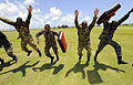 Members of the Royal Barbados Defense Force participate in a team-building drill during the Marine Corps Martial Arts Program subject matter expert exchange as part of Southern Partnership Station (SPS) Aug. 20 100820-N-EP471-561.jpg