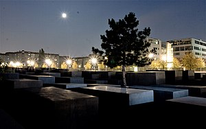 Memorial to the Murdered Jews of Europe by night