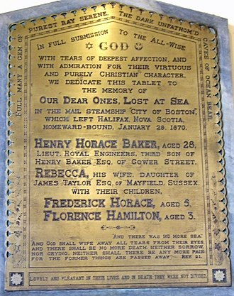 SS City of Boston - Memorial to a family lost in the disaster in the porch of St Pancras Parish Church, London.