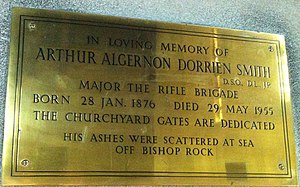 Arthur Algernon Dorrien-Smith - Memorial to Arthur Algernon Dorrien Smith in St Nicholas's Church, Tresco