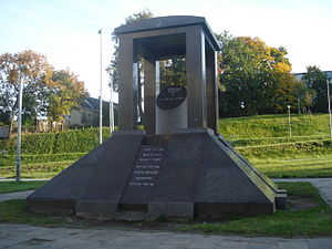 German occupation of Lithuania during World War II - A Holocaust memorial near the site of the HKP 562 forced labor camp in Subačiaus Street, Vilnius