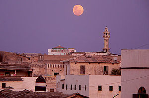 Moonrise and minaret in Merca, Somalia