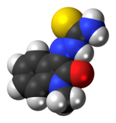 Space-filling model of the methisazone molecule