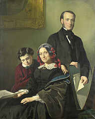 Mrs A J Schmidt Keiser, widow of the painter Willem Hendrik Schmidt (1809-49), the teacher of Jacob Rinse with her brother Y N Keiser and her ten-year-old son